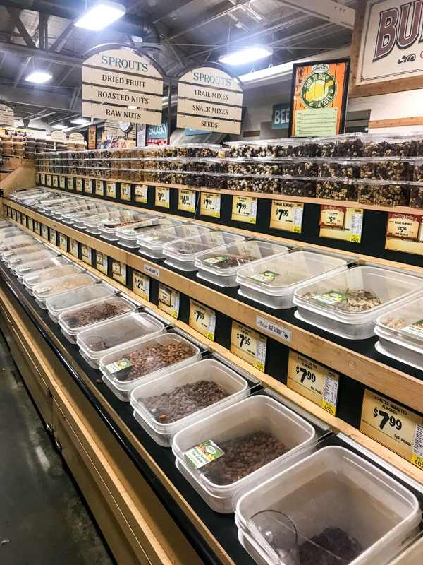 Bulk bins at grocery store for buying in bulk