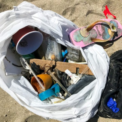 Plastic and trash found at the beach